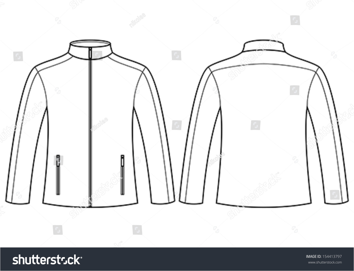 stock vector jacket template front and back