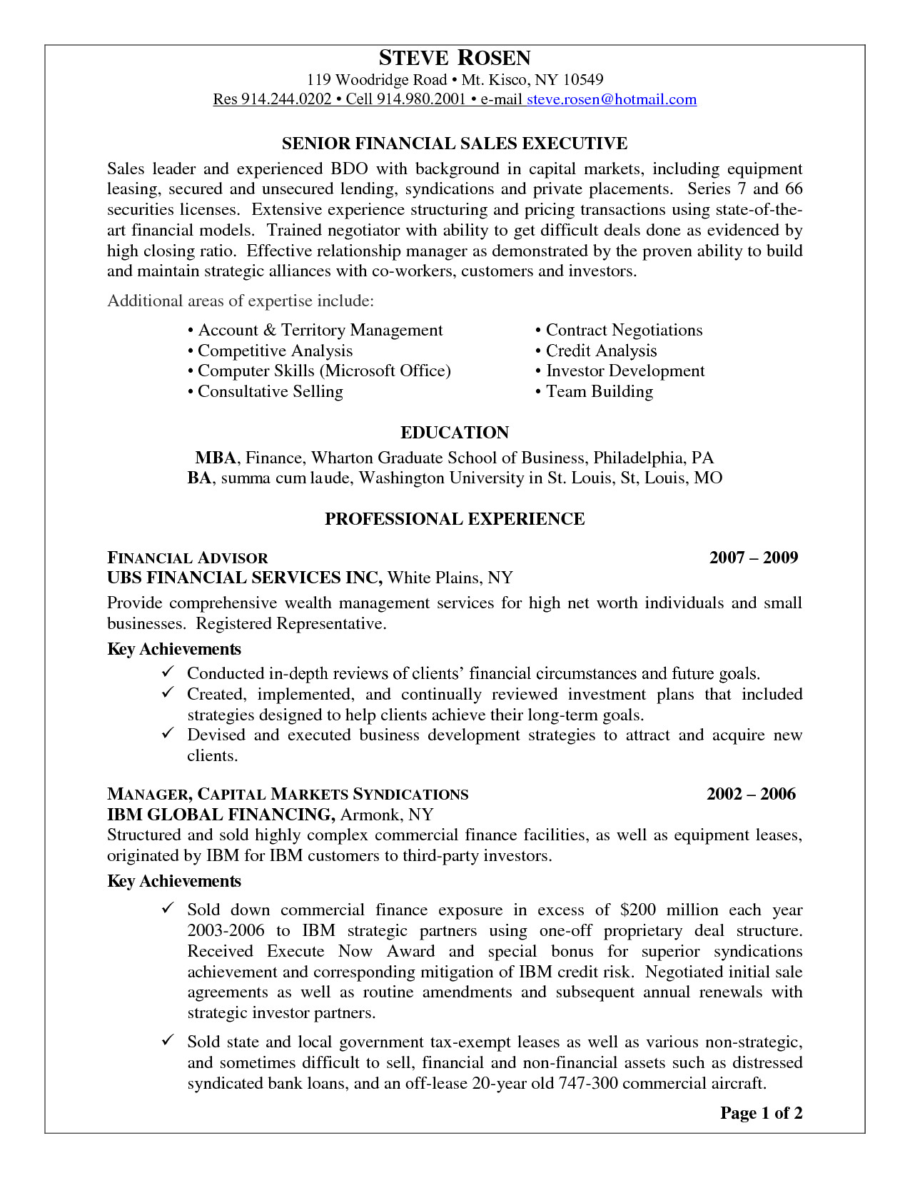 financial advisor resume cover letter examples