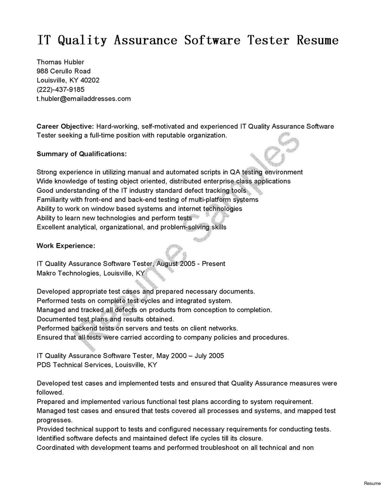 sqa resume sample awesome software testers resume tester sample skills