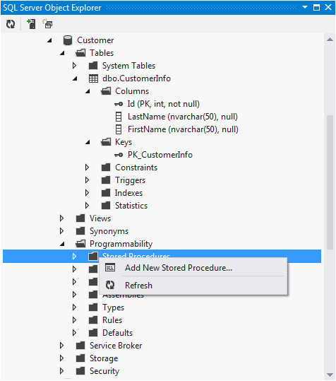 adding stored procedures with ssdt