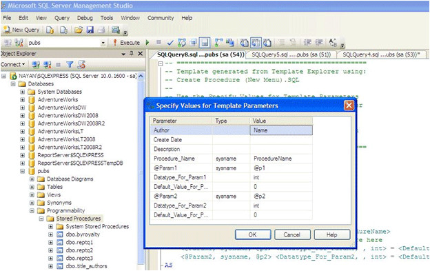 creating and managing stored procedure in sql server 2008