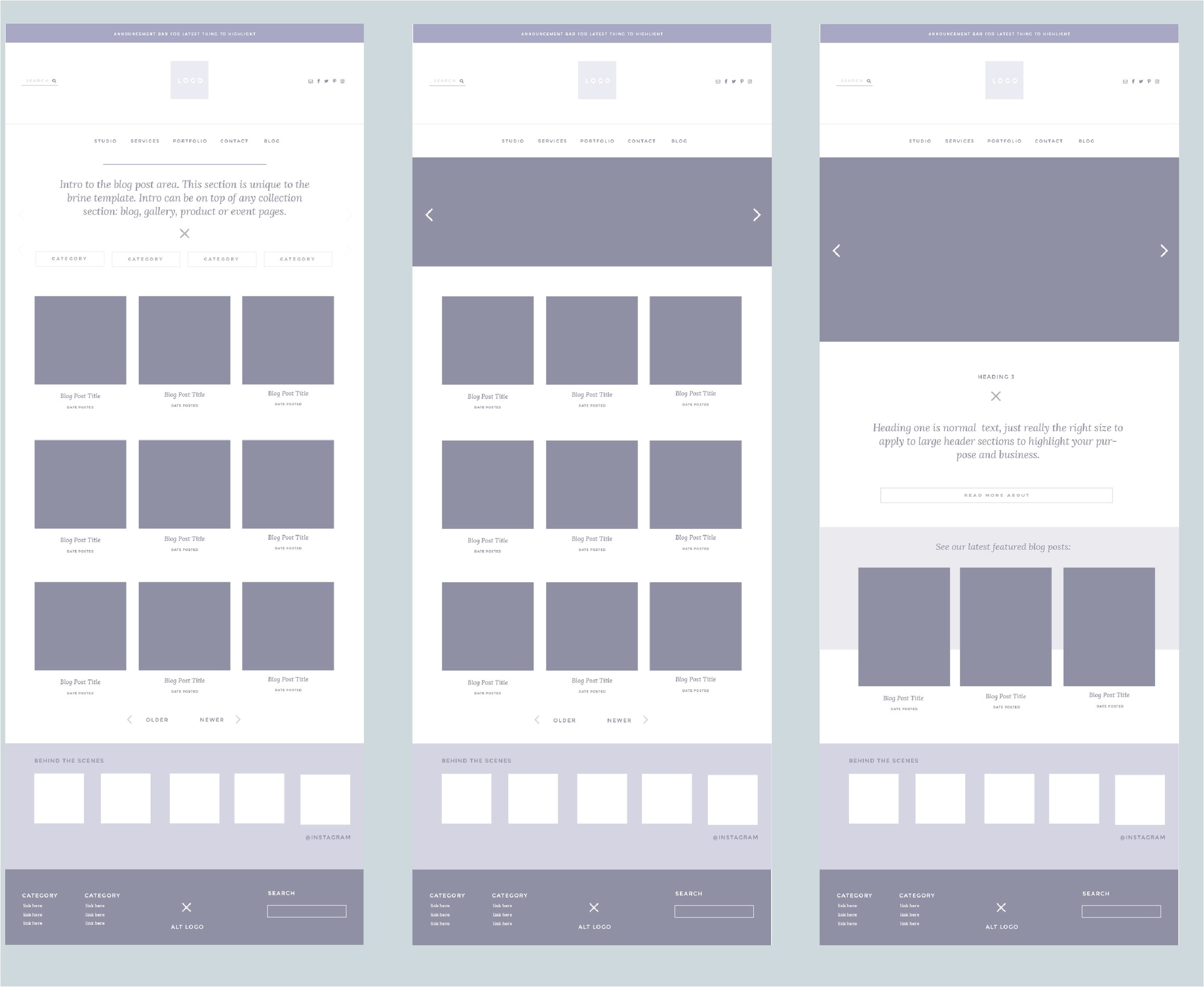 squarespace templates with sidebar