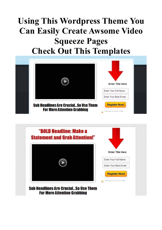 Squeeze Page Templates WordPress Wp Squeeze Page theme WordPress Squeeze Page theme