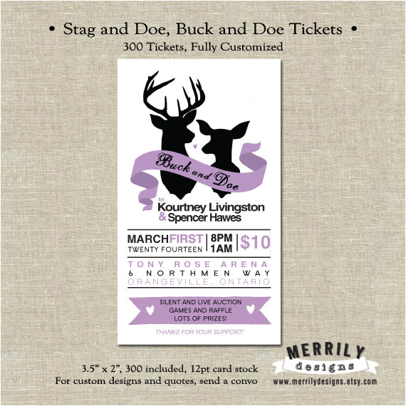 Stag and Doe Ticket Templates 300 Tickets Stag and Doe Buck and Doe Tickets by