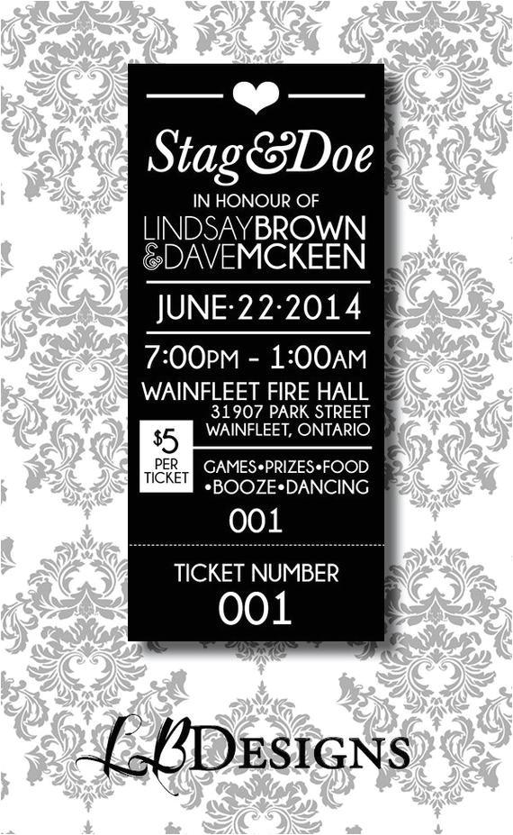 stag doe ticket simple tear ticket