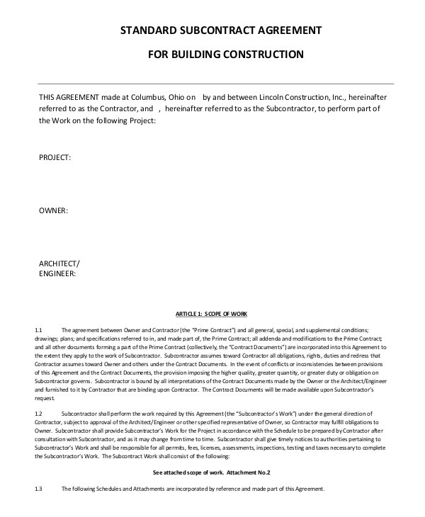 simple subcontractor agreement