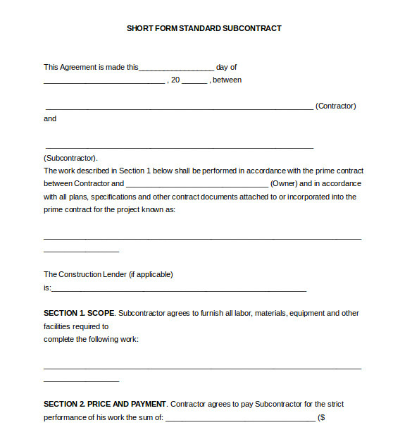 Standard Subcontract Agreement Template Subcontractor Agreement Template 16 Free Word Pdf