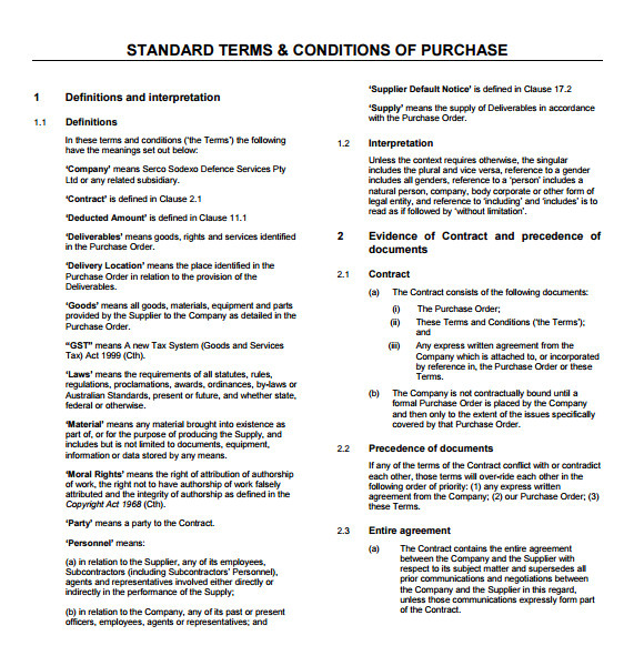Standard Terms and Conditions for Services Template 9 Terms and Conditions Samples Sample Templates