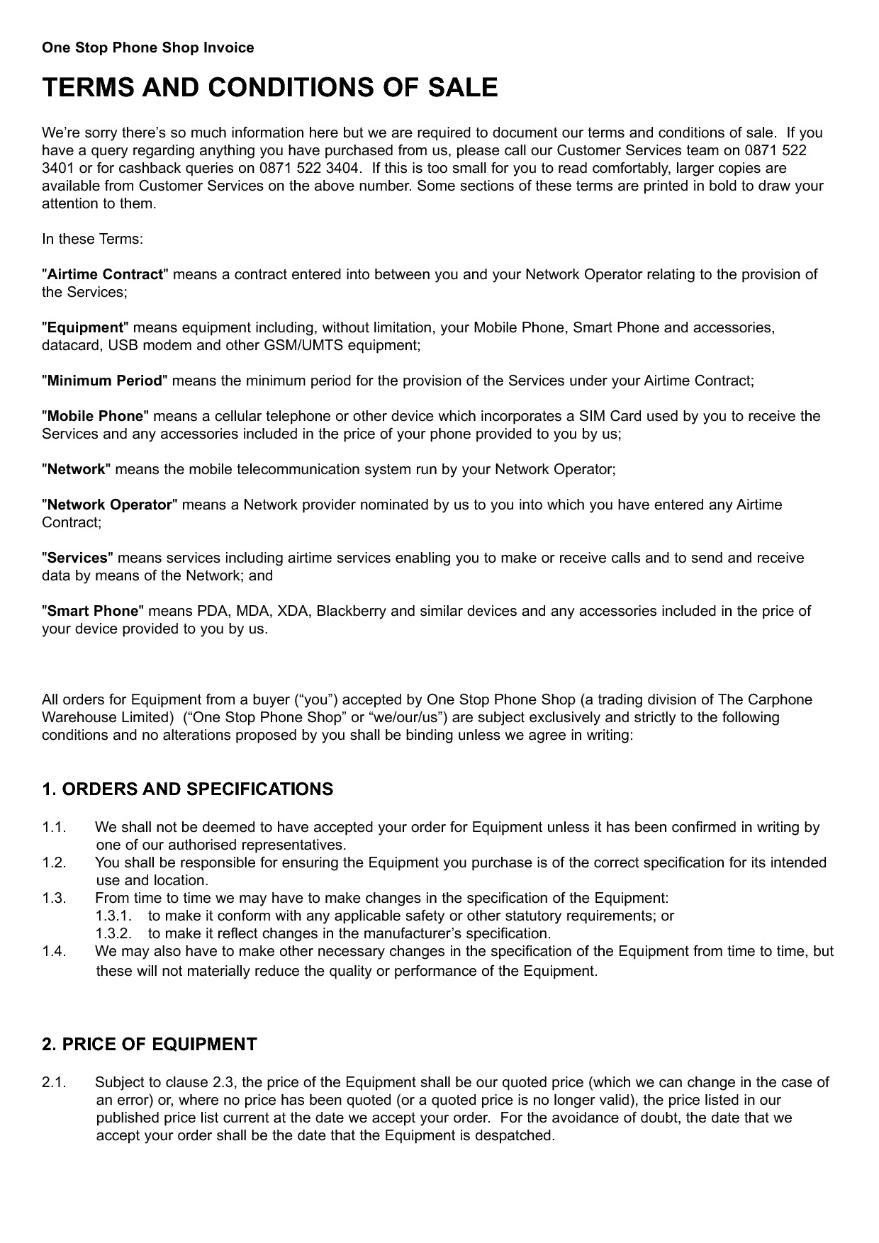 standard invoice terms and conditions