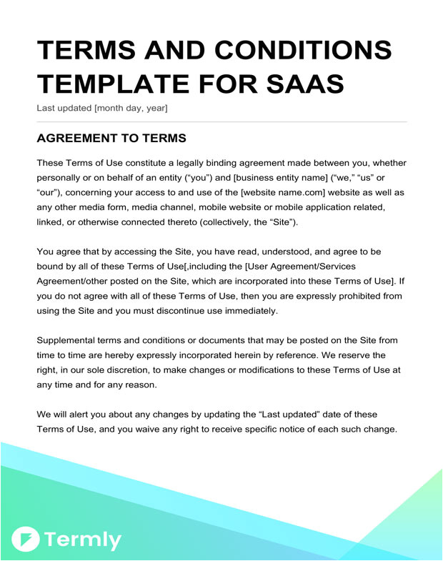 standard terms and conditions for services template