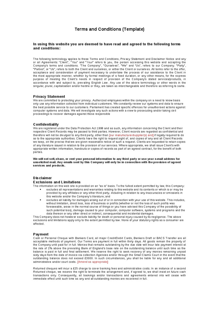Standard Terms and Conditions for Services Template Terms and Conditions Template Peerpex
