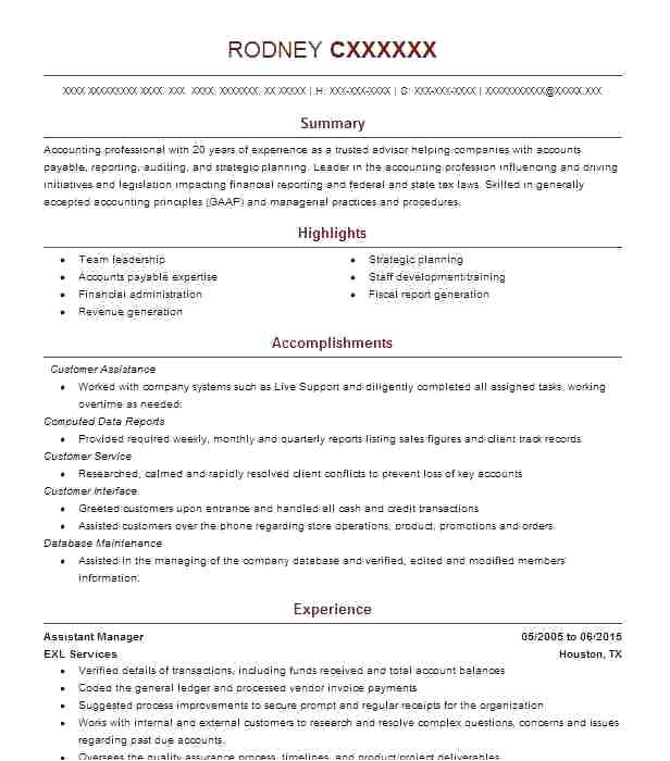 accounts payable manager resume sample