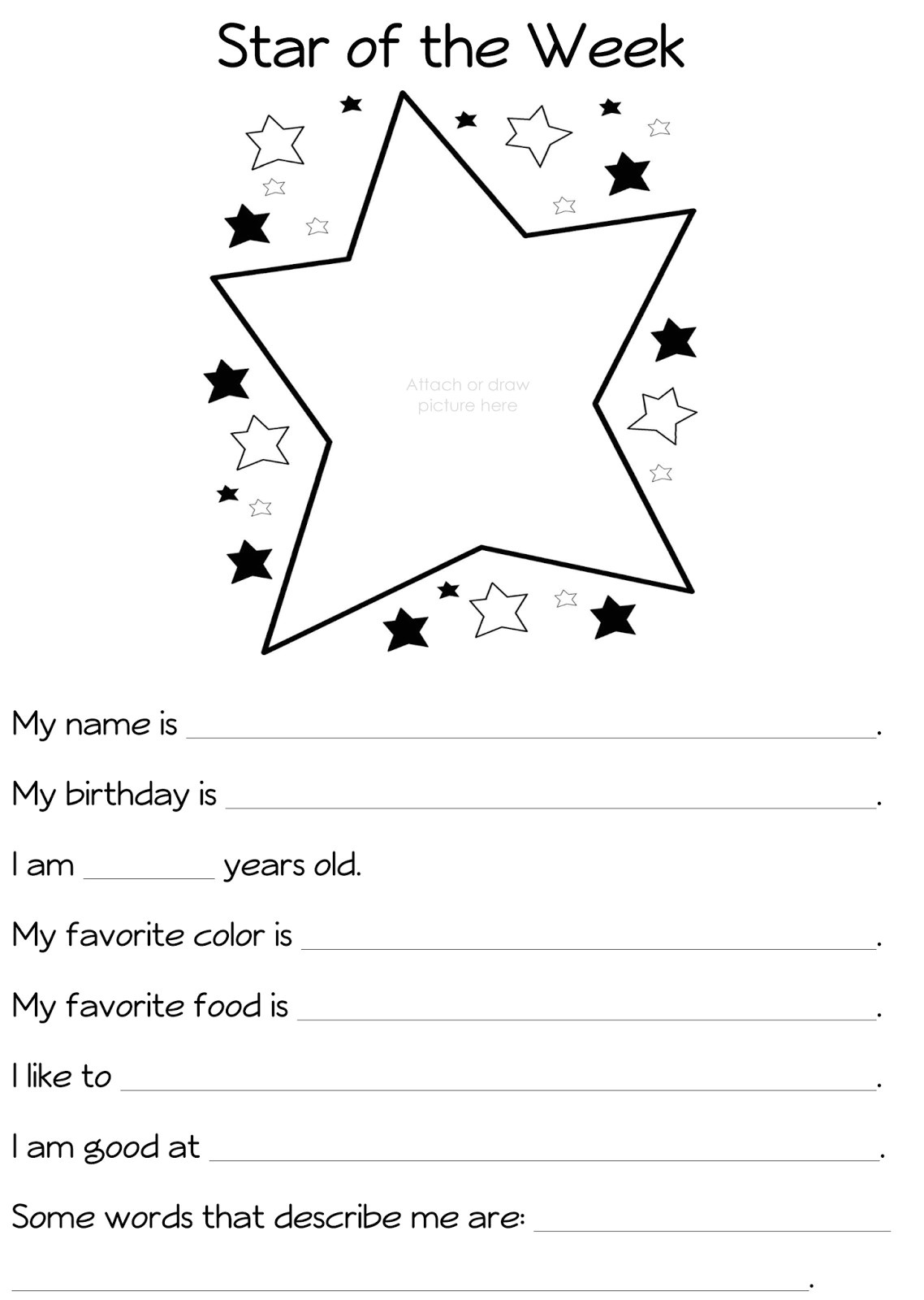 post student all about me printable 229677