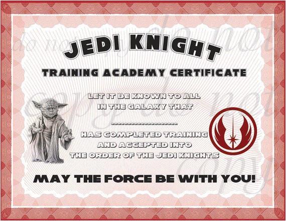 Star Wars Jedi Certificate Template Free Instant Dl Jedi Knight Certificate Star Wars Birthday Party