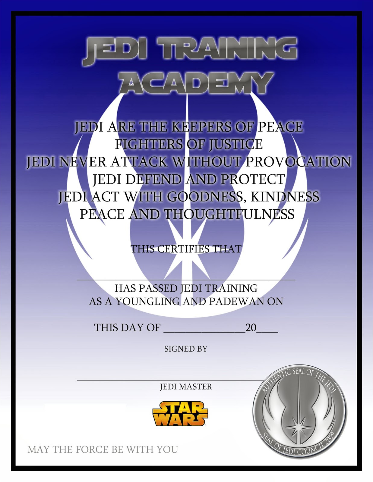 star wars jedi training certificate free