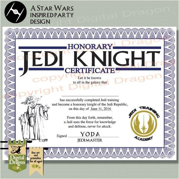 star wars jedi knight party certificate