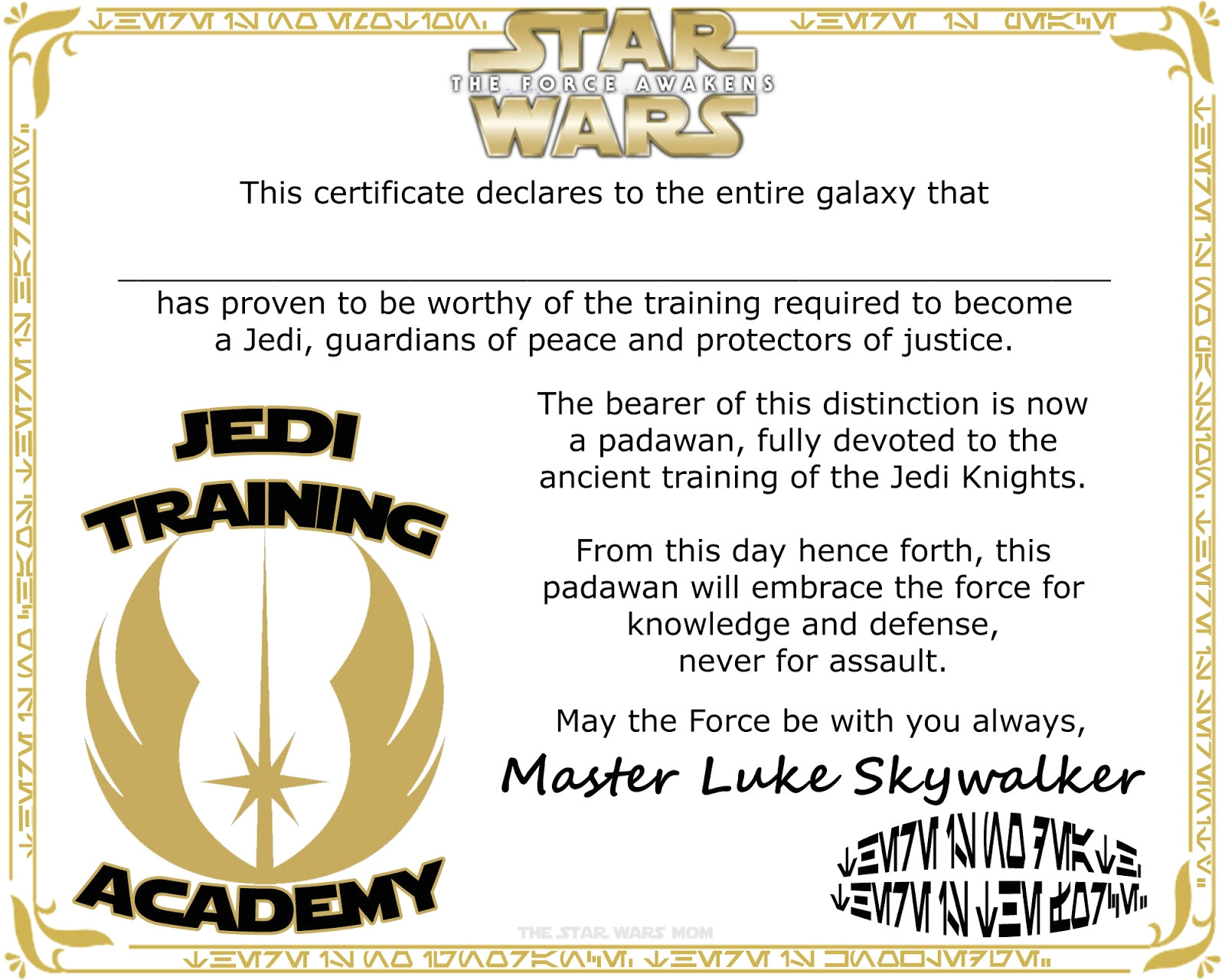 star wars jedi knight free certificate