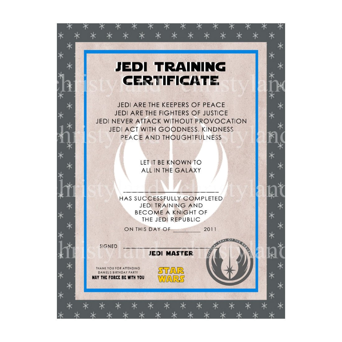 star wars jedi training certificate template