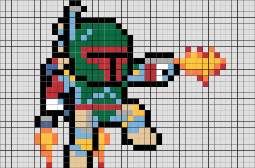 star wars boba fett pixel art