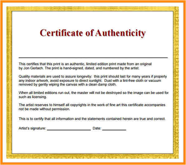 5 certificates of authenticity templates