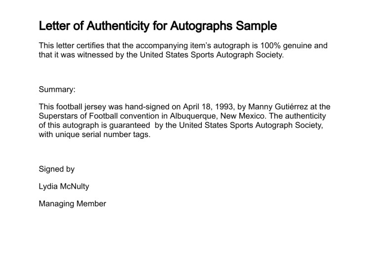 letter of authenticity
