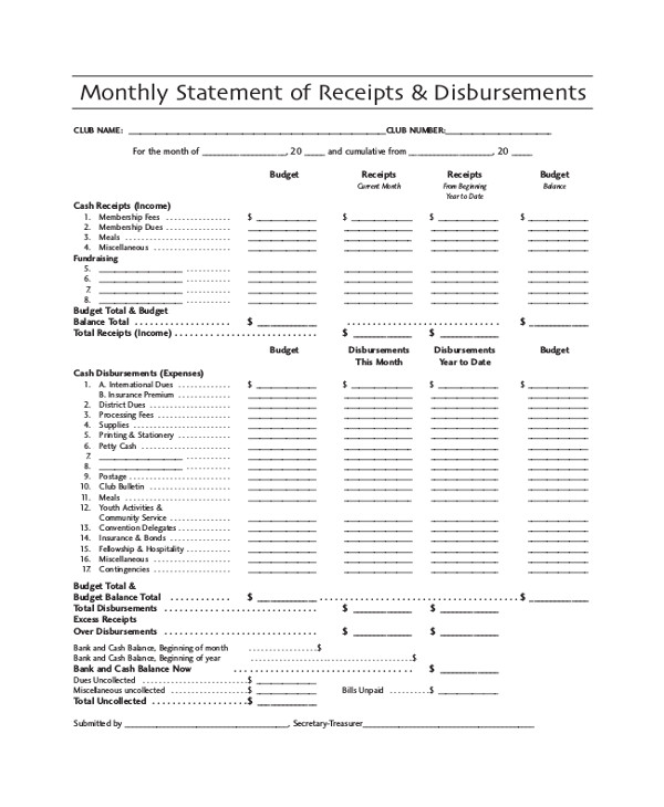Statement Of Cash Receipts and Disbursements Template 41 Sample Receipts Sample Templates