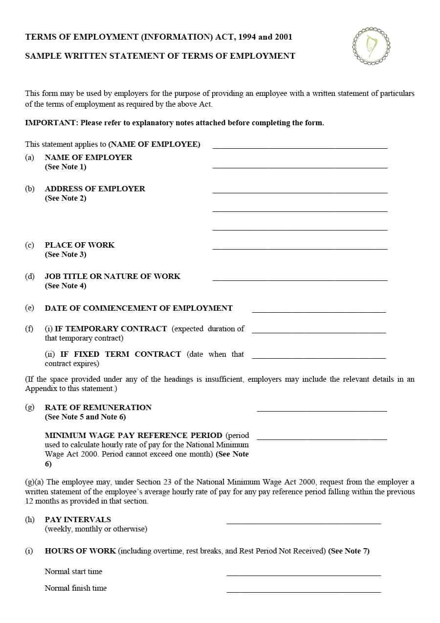 statement of employment template