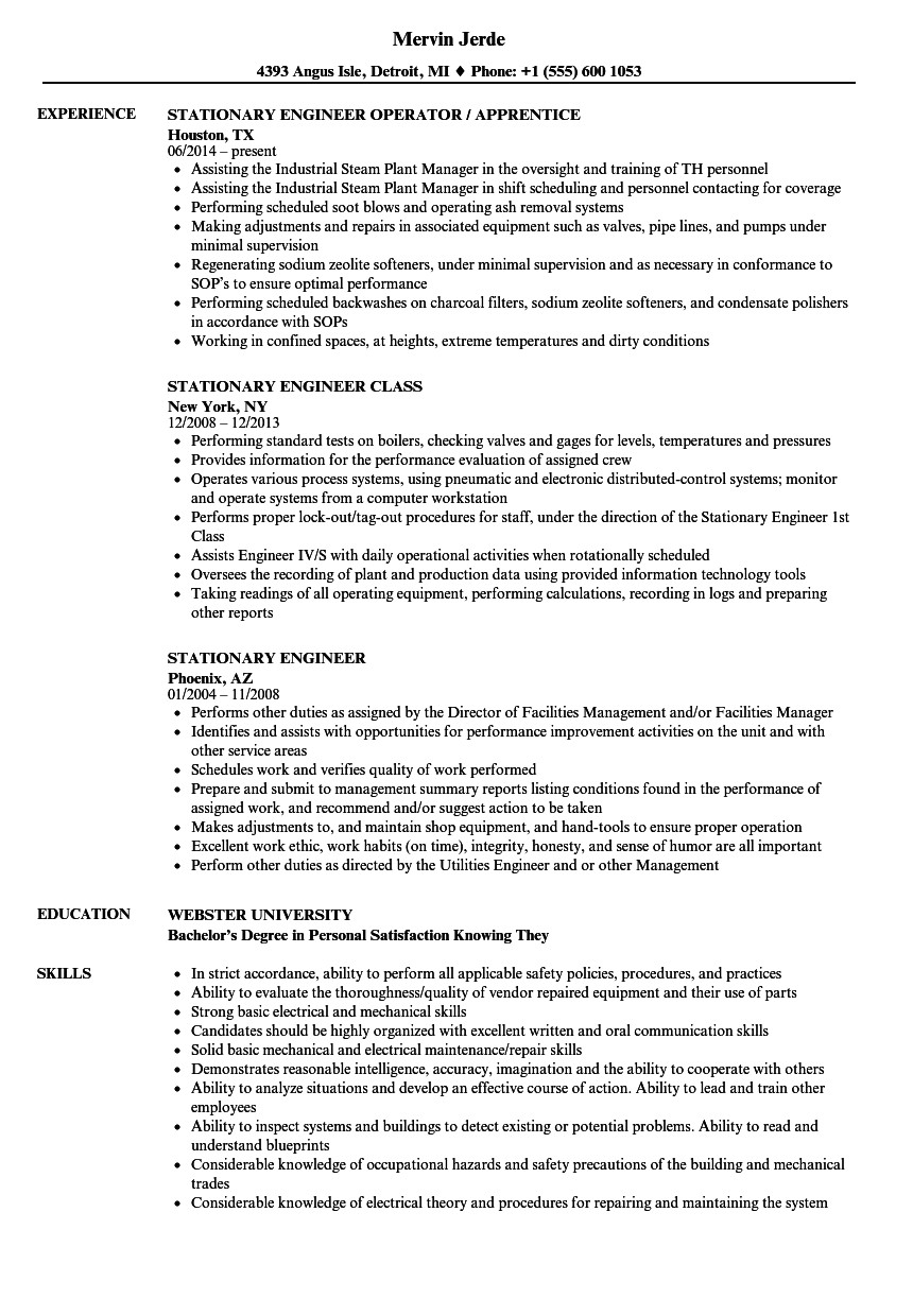 Stationary Engineer Resume Sample Stationary Engineer Resume Samples Velvet Jobs