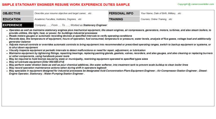 sample resume template jobtitle stationary 20engineer