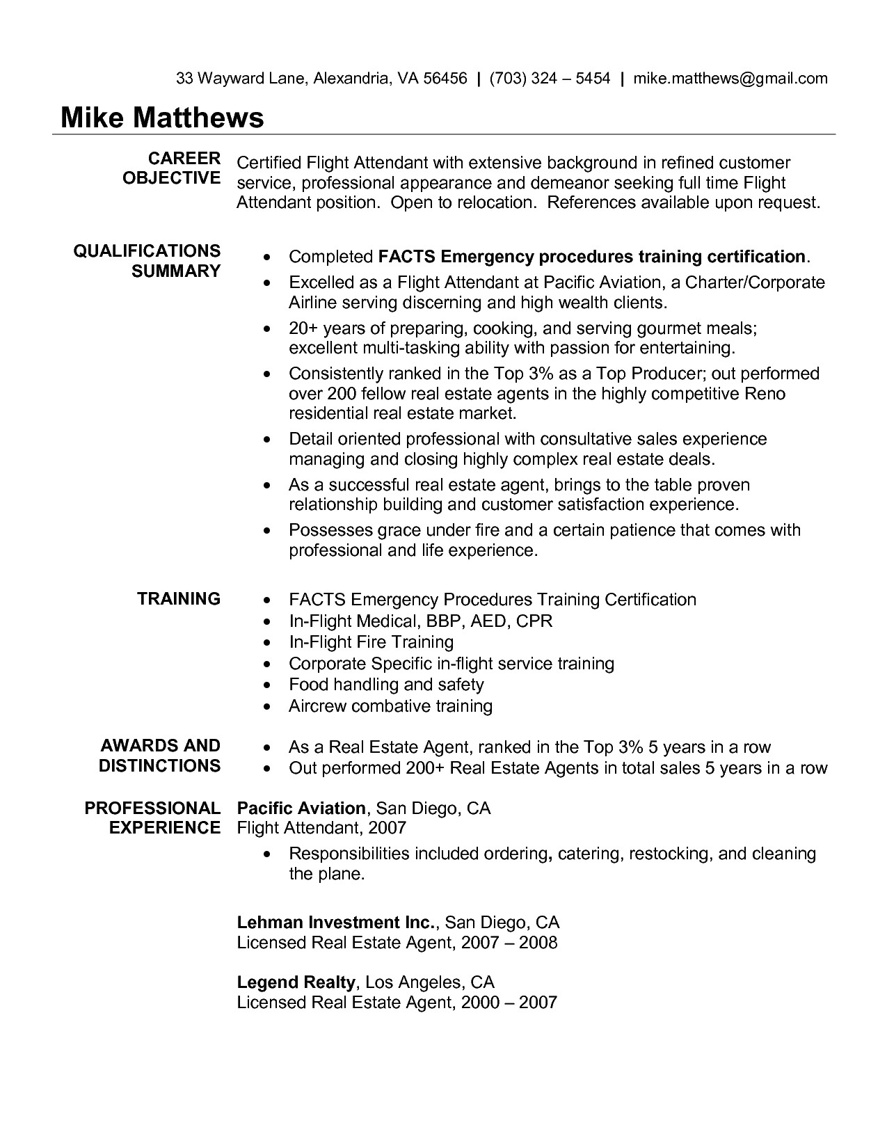flight attendant resume no experience sample