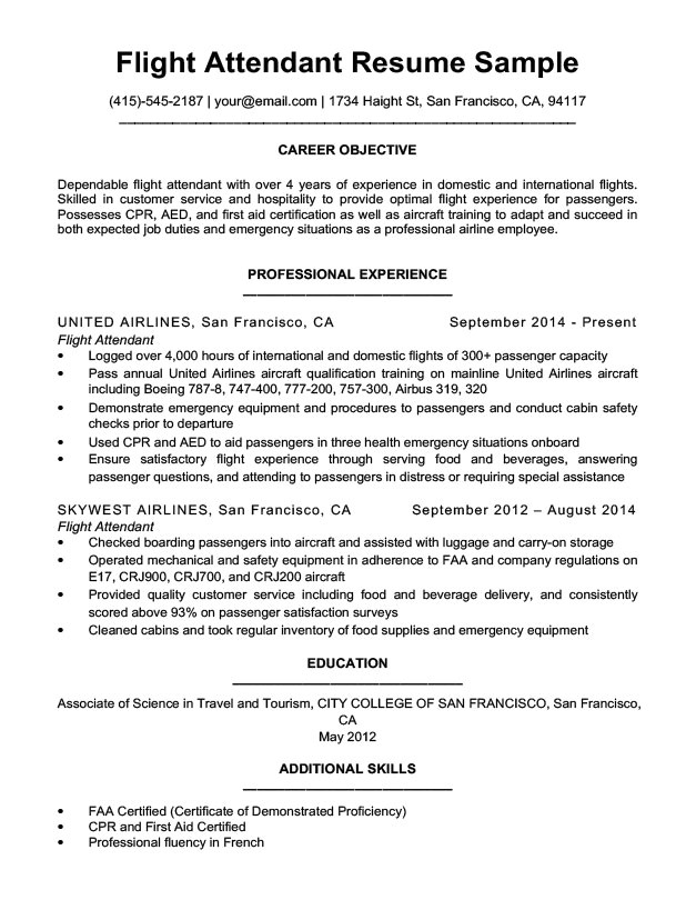 Stewardess Resume Sample Flight attendant Resume Sample Writing Tips Resume