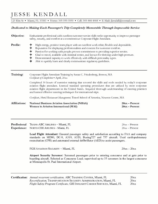 sample resume for flight attendant with no experience