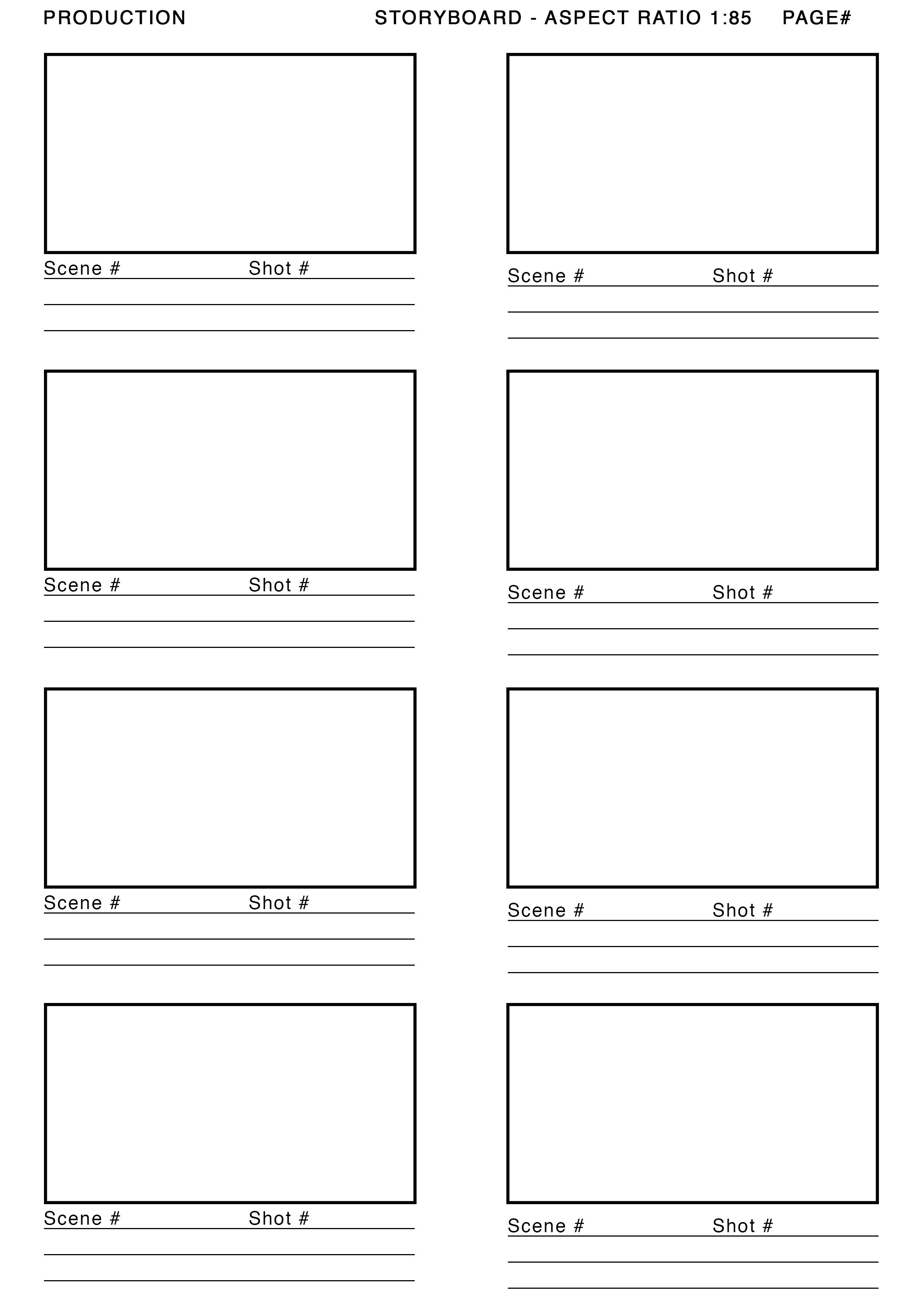 Storyboard Illustrator Template 1 85 aspect Ratio Storyboard Template Google Search