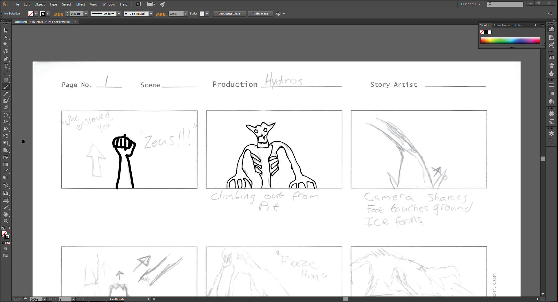 Storyboard Illustrator Template Storyboarding Final Year Project