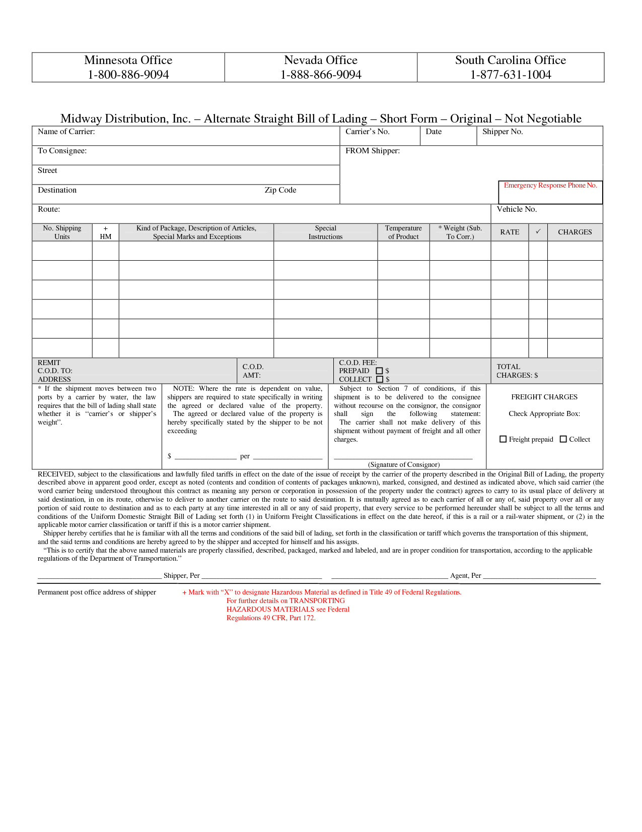 Straight Bill Of Lading Short form Template Free 10 Best Images Of Bill Of Lading Short form Bill Of