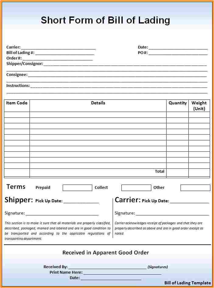 Straight Bill Of Lading Short form Template Free 5 Bill Of Lading Short form Template Simple Bill