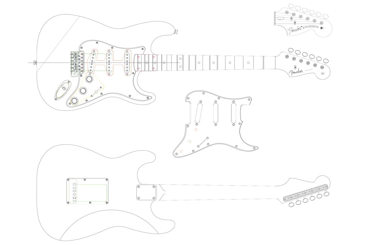 fender stratocaster templates