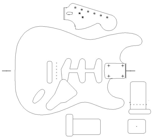 Strat Routing Template Fender Stratocaster 1960 Template Vinyl Guitar Making