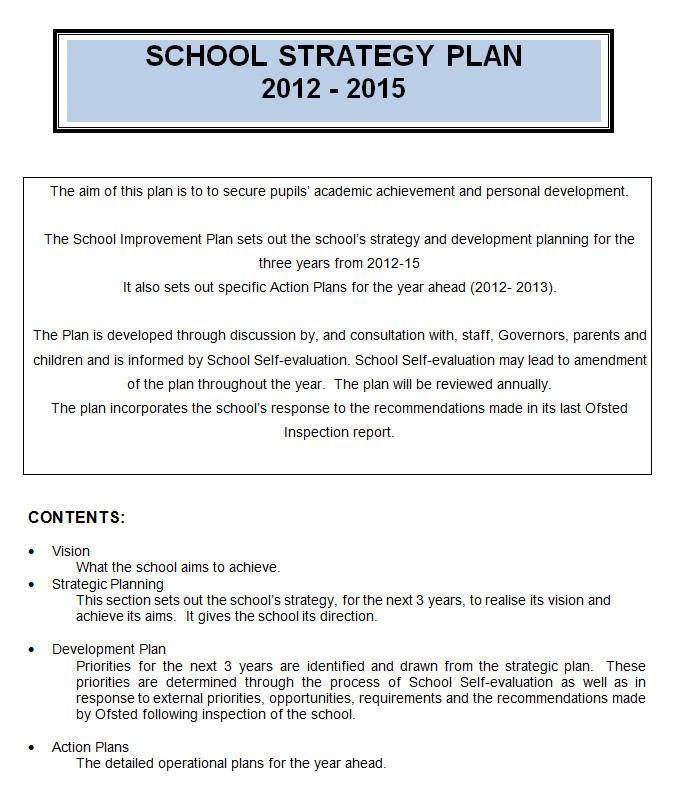 school strategic plan template