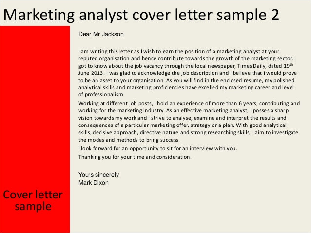 Strategy Analyst Cover Letter Marketing Analyst Cover Letter