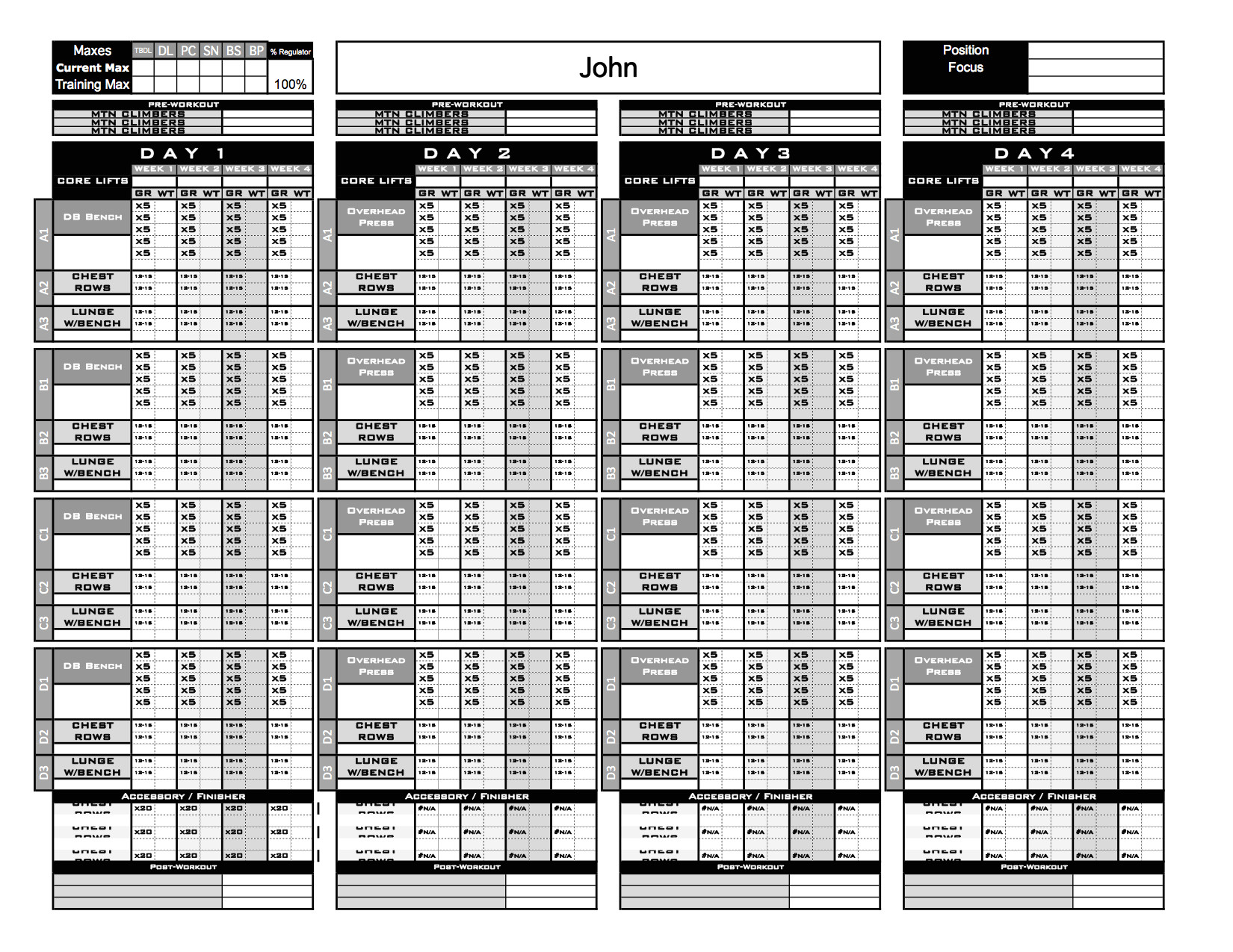 Strength and Conditioning Templates Gold Strength Conditioning Templates Excel Training
