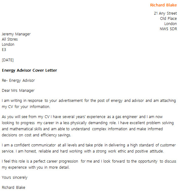 Strong Work Ethic Cover Letter Energy Advisor Cover Letter Example Icover org Uk