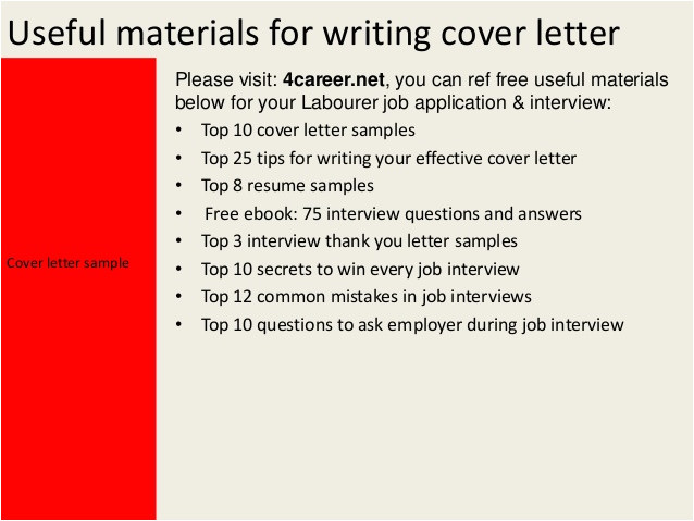 Strong Work Ethic Cover Letter Labourer Cover Letter