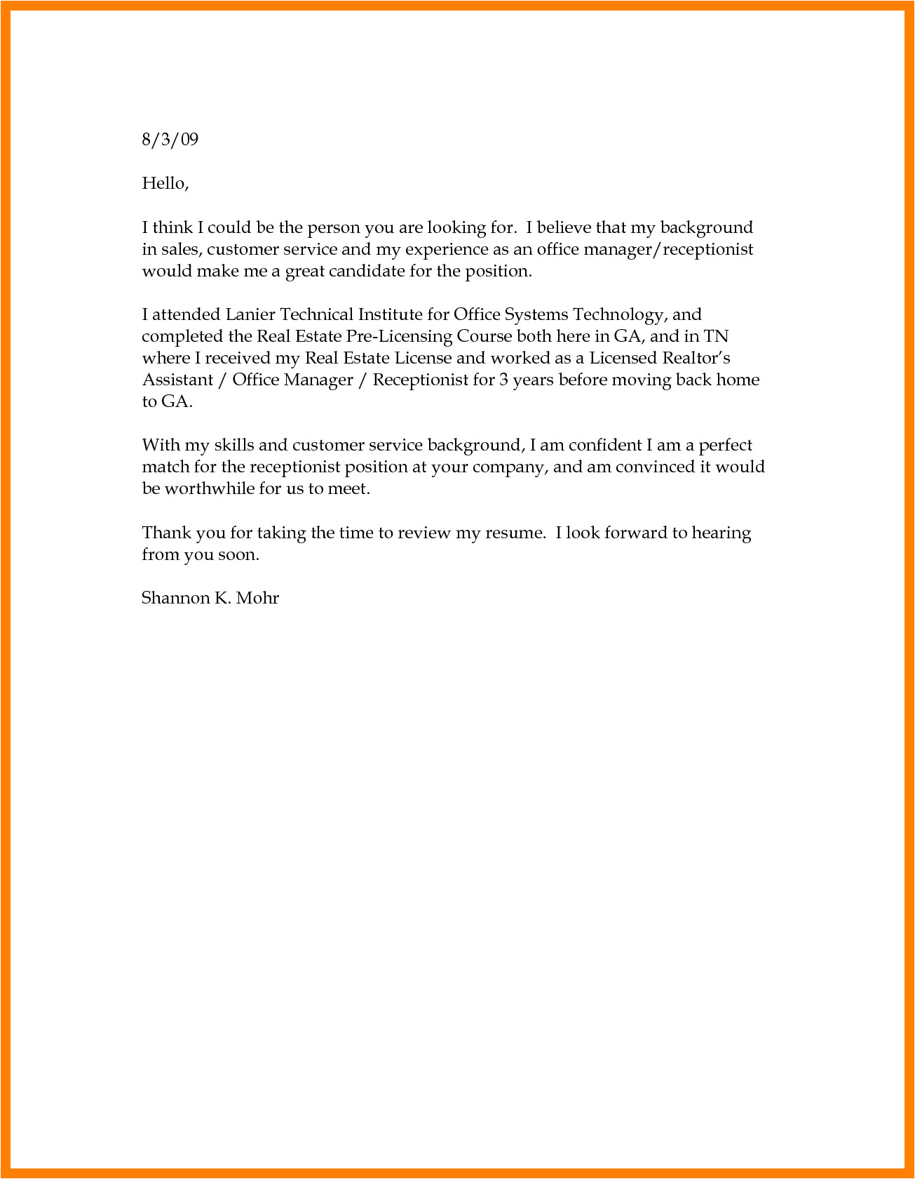 basic cover letter structure