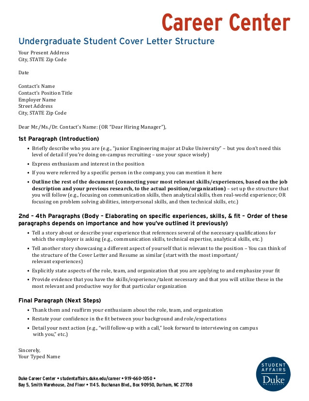 Structure Of A Good Cover Letter Undergraduate Cover Letter Structure Wells Fargo