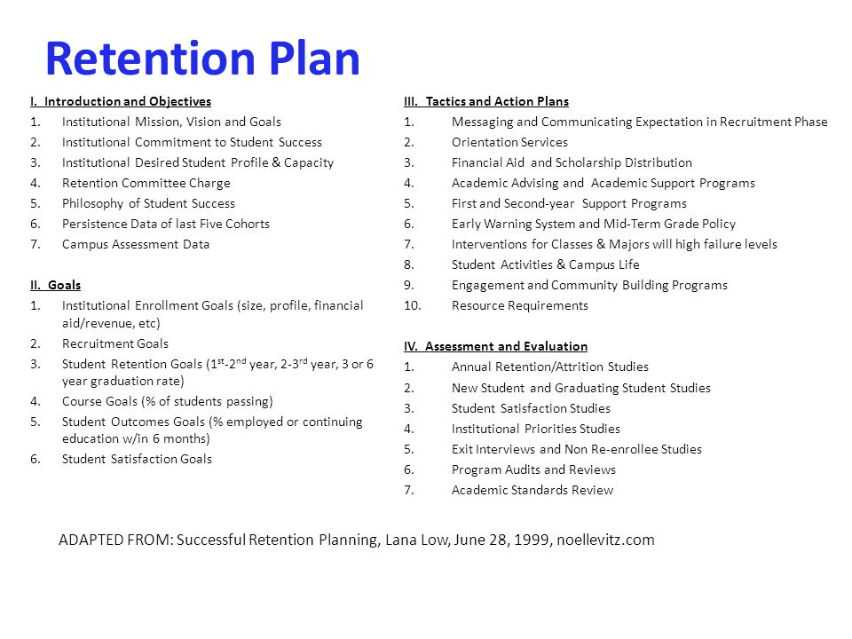 Student Retention Plan Template Jay W Goff Vice President Of Enrollment Retention