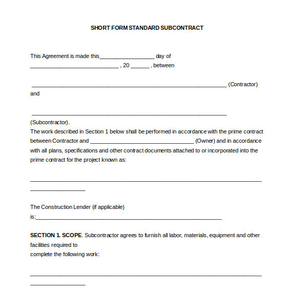 sample subcontractor agreement