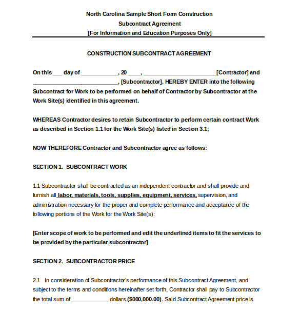 Subcontractor Scope Of Work Template Subcontractor Agreement Template 16 Free Word Pdf