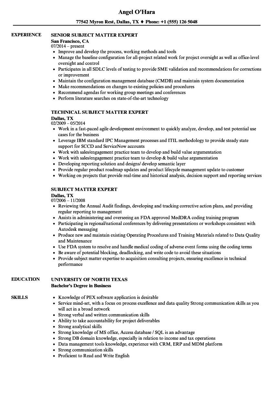 subject matter expert resume sample