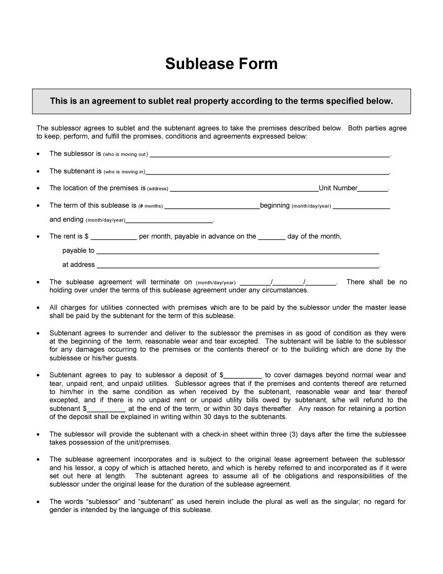 Subletting Contract Template 40 Professional Sublease Agreement Templates forms